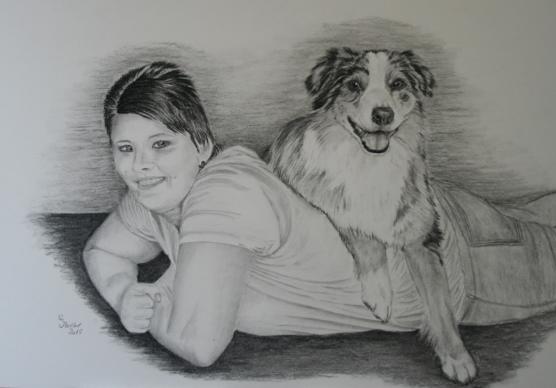 Kombizeichnung Mensch und Hund in Kohle und Graphit